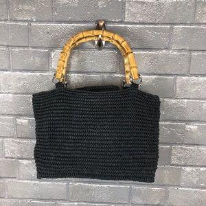 Talbots Black Straw Bag with Bamboo Handles